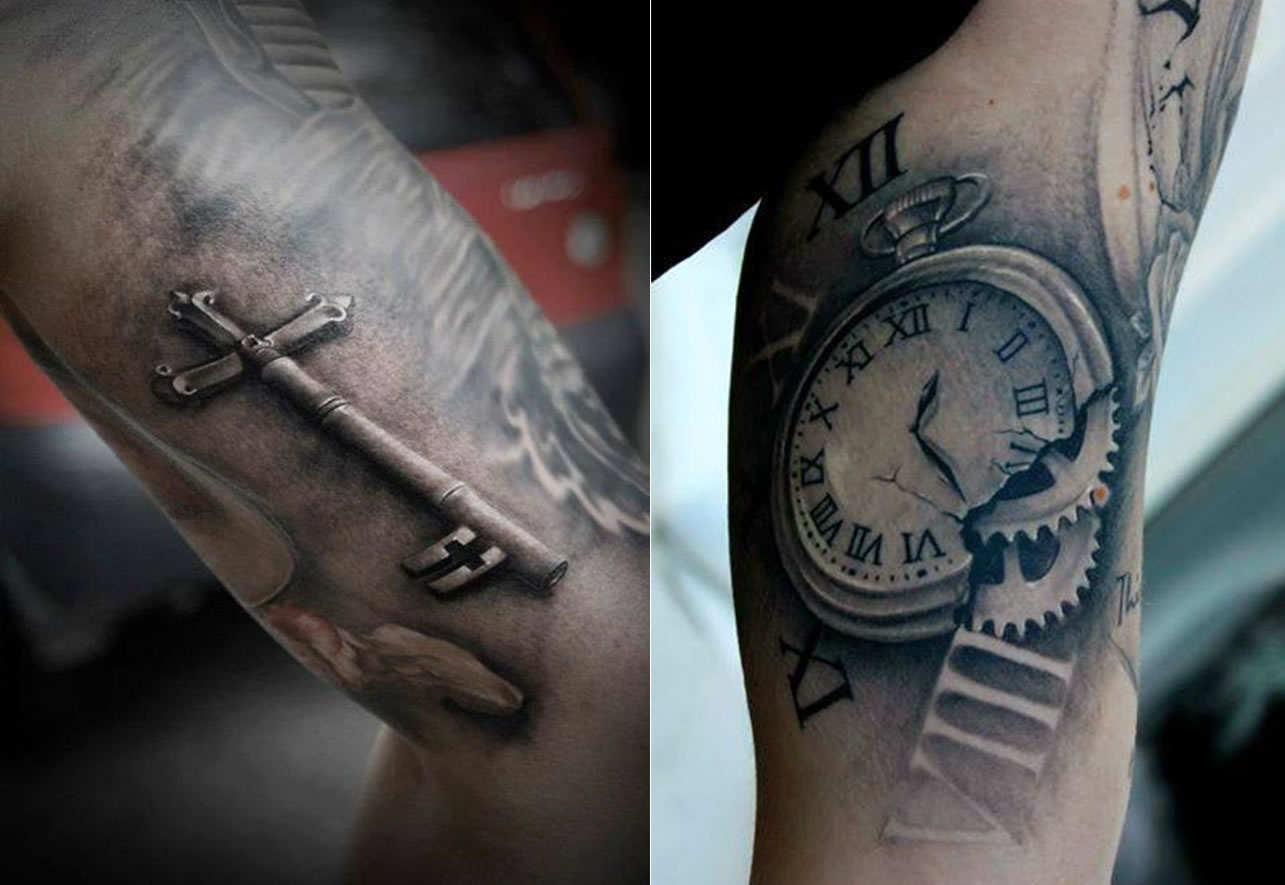 old key  pocket watch tattoos by Bacanu Bogdan