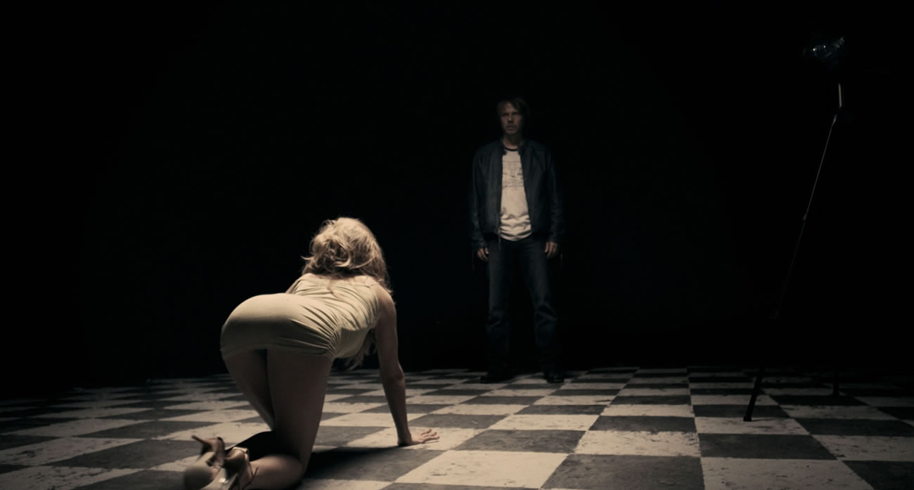 a serbian film, woman crawling on checkered floor, meeting up with man