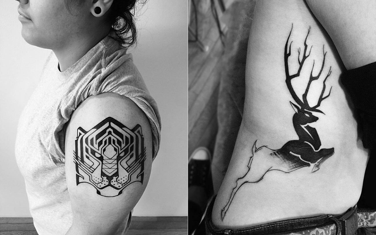 tiger and deer tattoo by ben volt from 2Spirit Tattoo