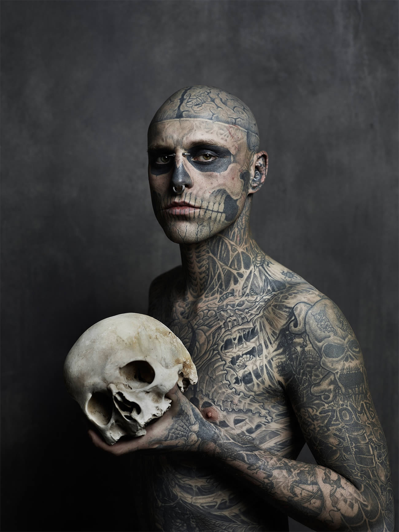 rick genest, zombie boy for rebell magazine, skull