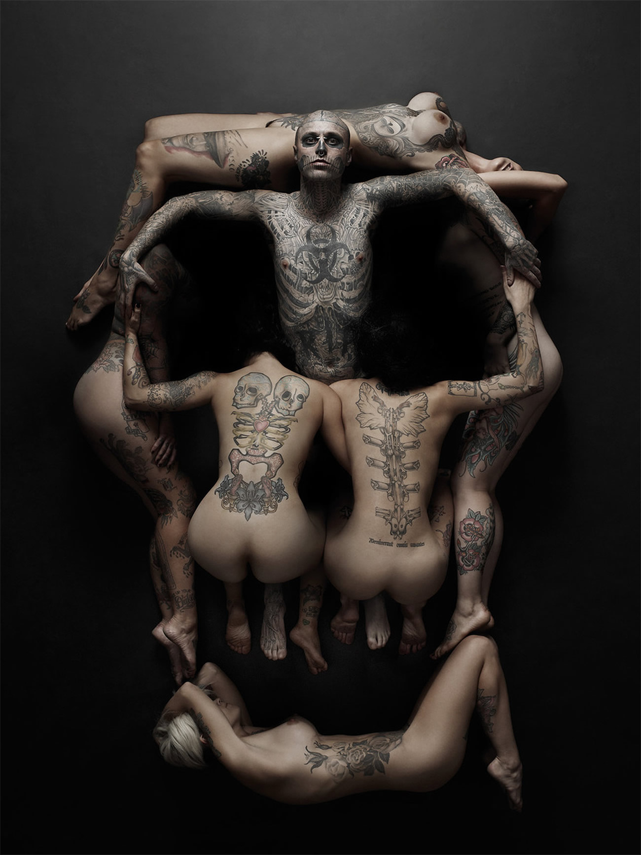 zombie-boy-rick-genest-photoshoot, dali, skull illusion, rick genest