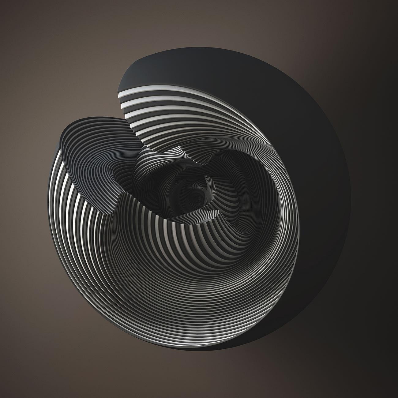 3-D design computer art shell