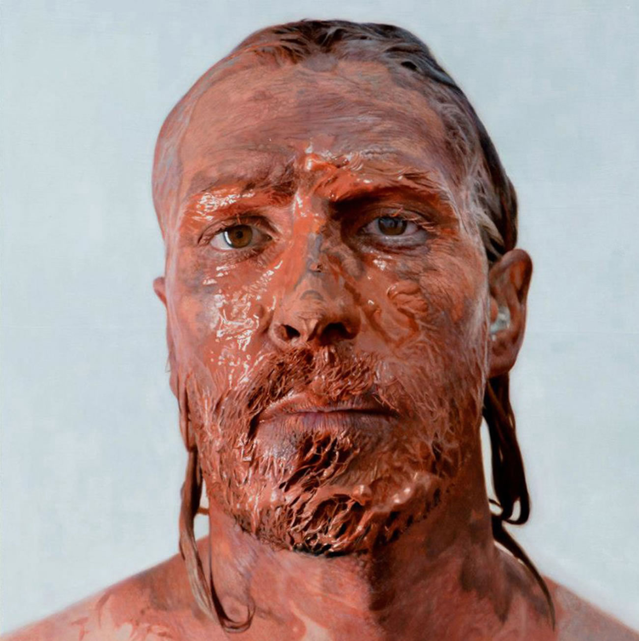 clay mud on man's face, self-portrait painting by Eloy Morales