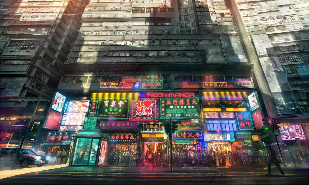 manga neon building, digital art by jonasdero
