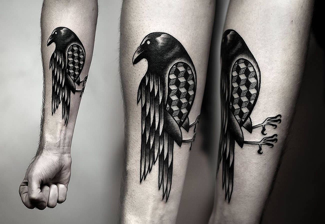 bird with 3d cubes tattoo by kamil czapiga