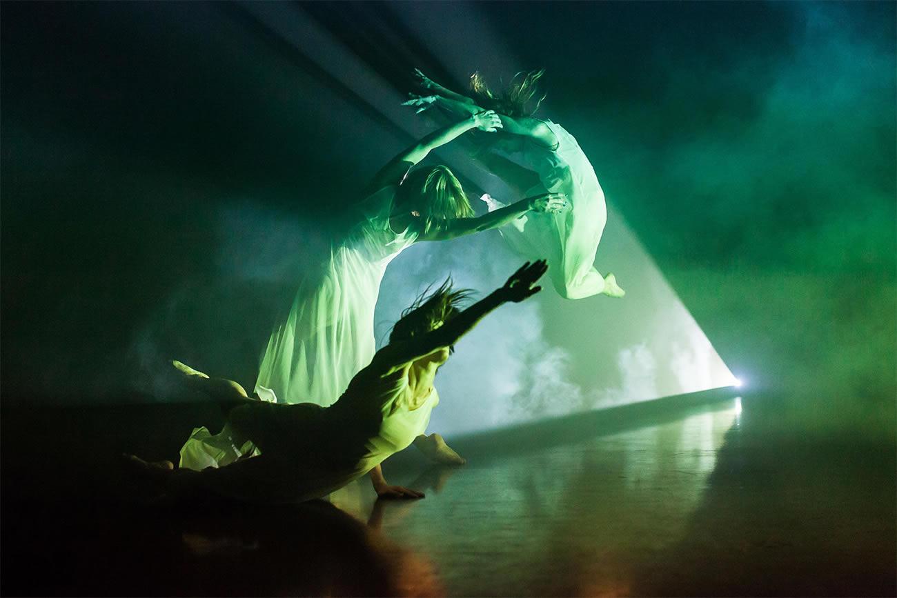 three dancers, green photo by lynn lane