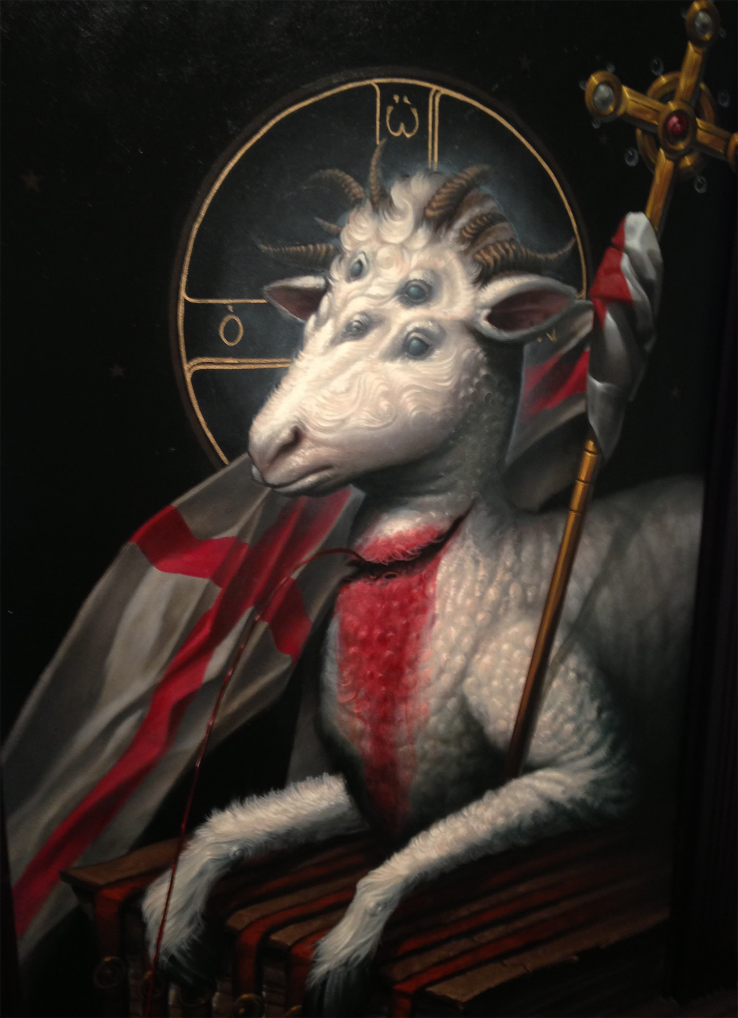 sheep with various eyes, painting by Adrian Dominic