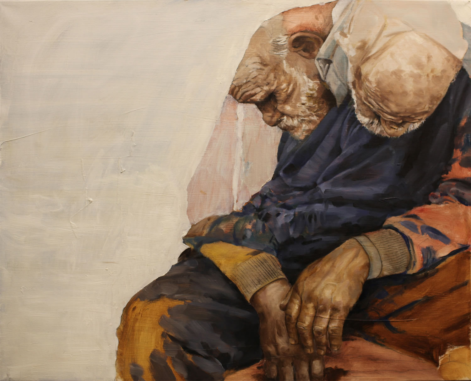 old man sitting down, painting by david allen