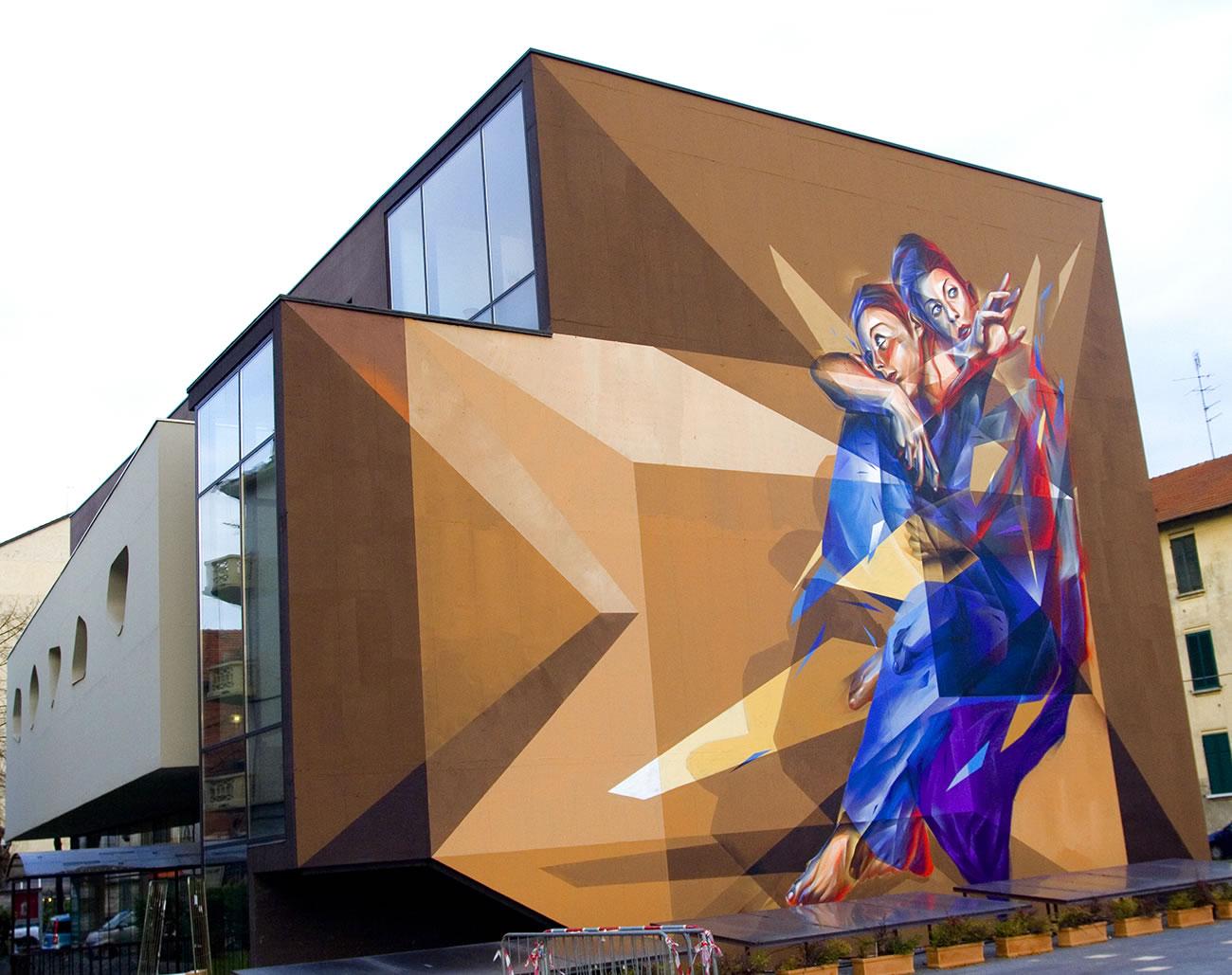 angels on building, mural by vesod