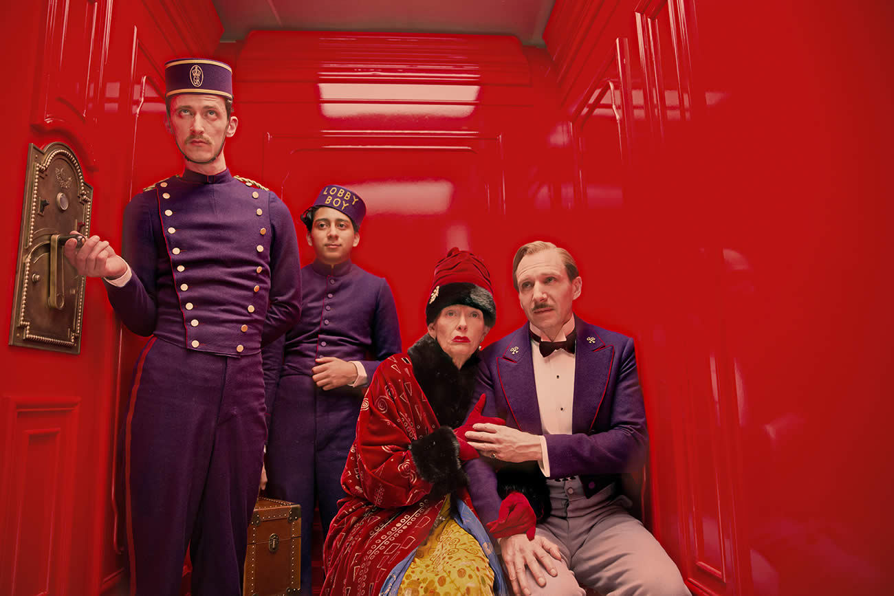 The Grand Budapest Hotel, red background, movie still
