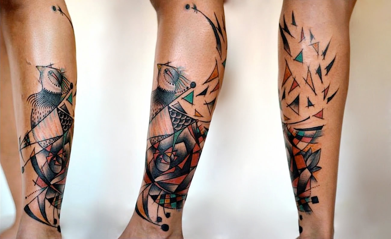 tattoo on leg by Alejandro Ferrer Acosta