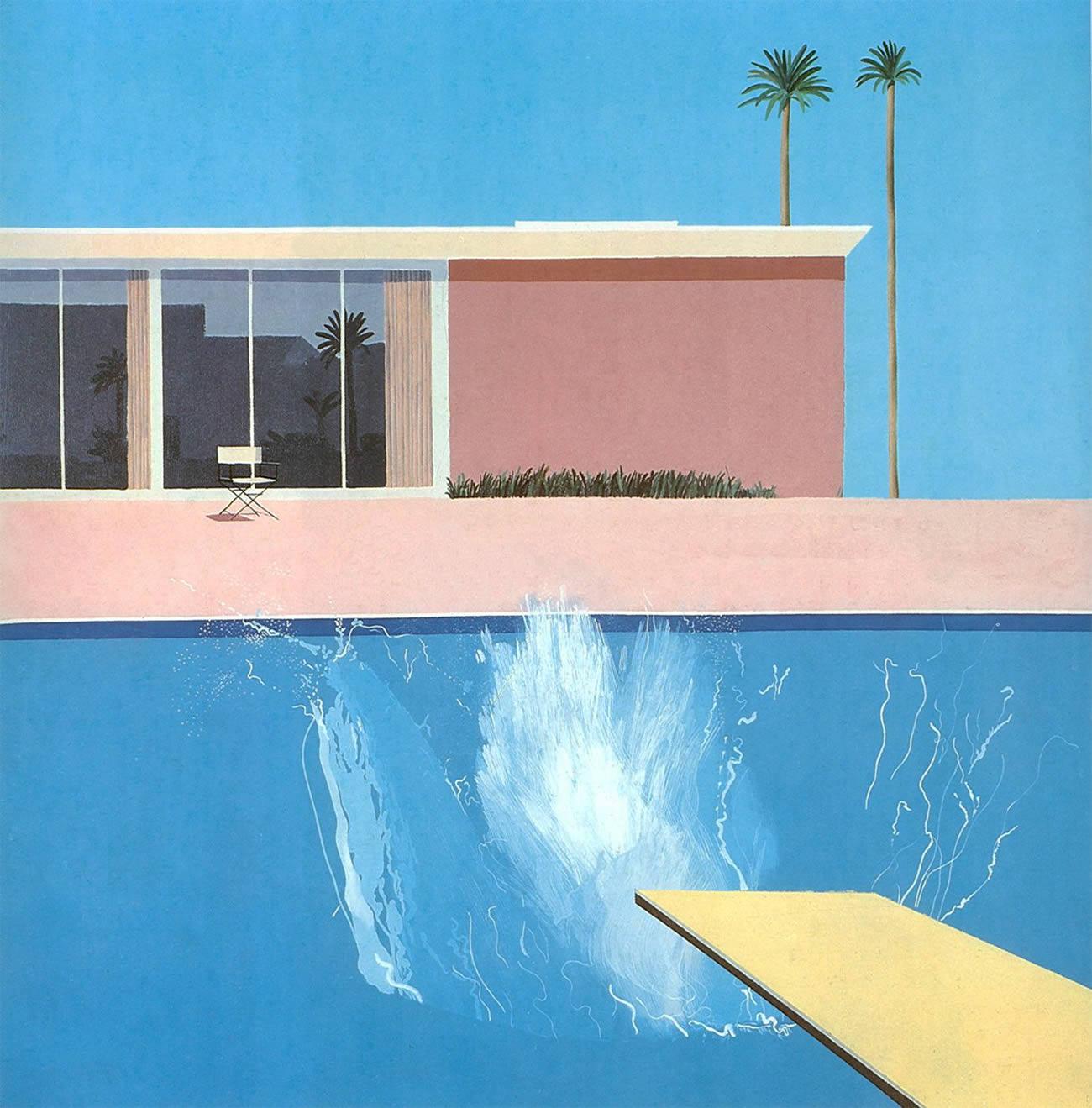 david hockney swimming pool painting, a bigger splash