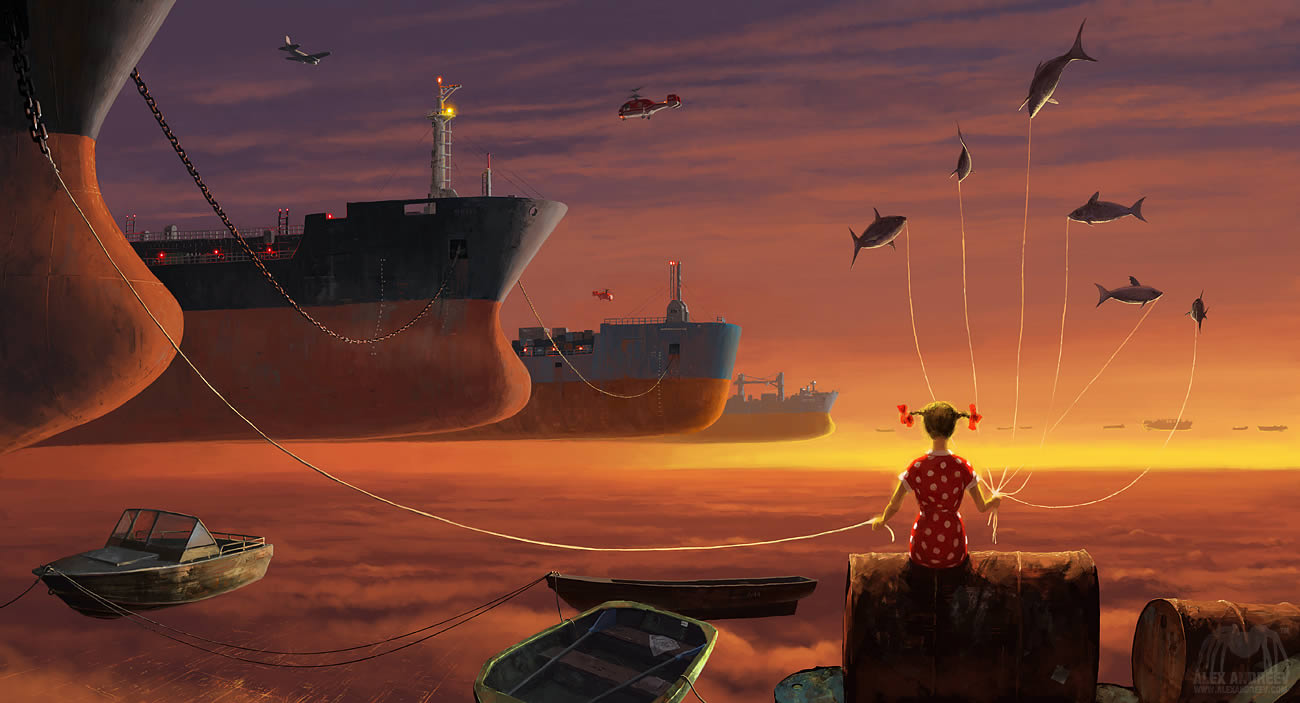 girl holding balloons and ship line by alex andreev