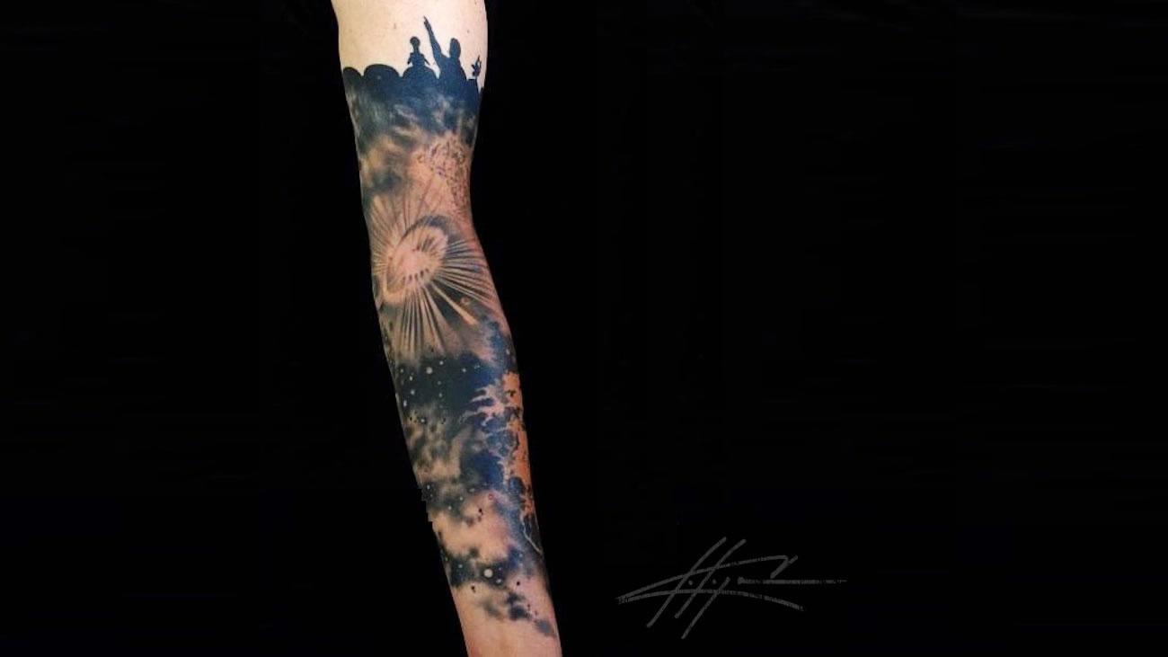 MST3K Galaxy Sleeve tattoo by Nick Chaboya