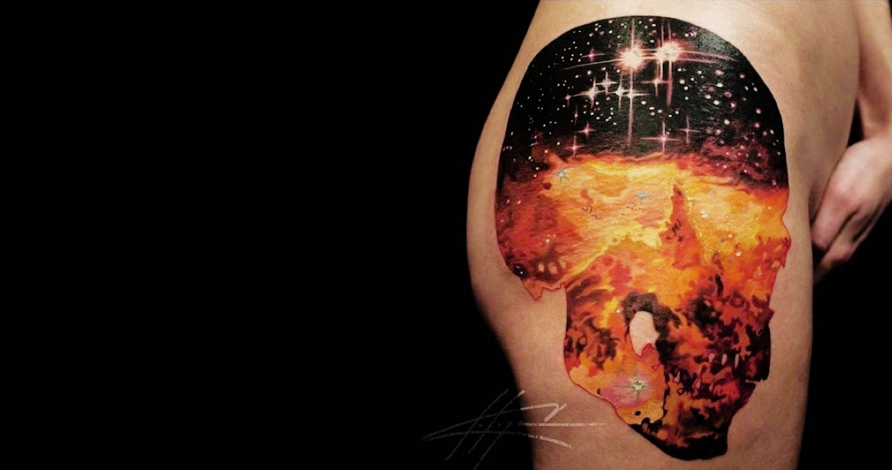 Constellation in a Skull tattoo by Nick Chaboya