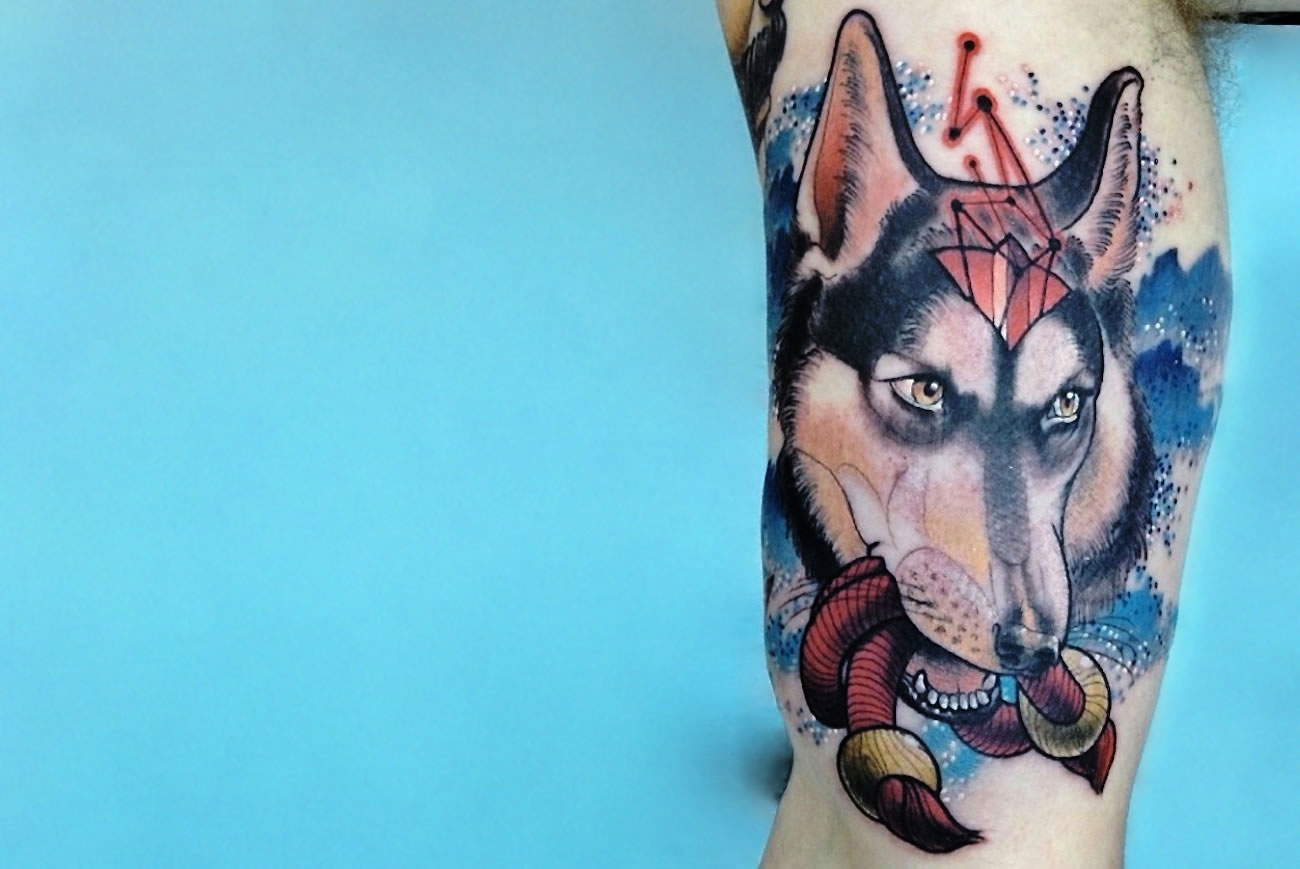Wolf with Stardust tattoo by Cody Eich