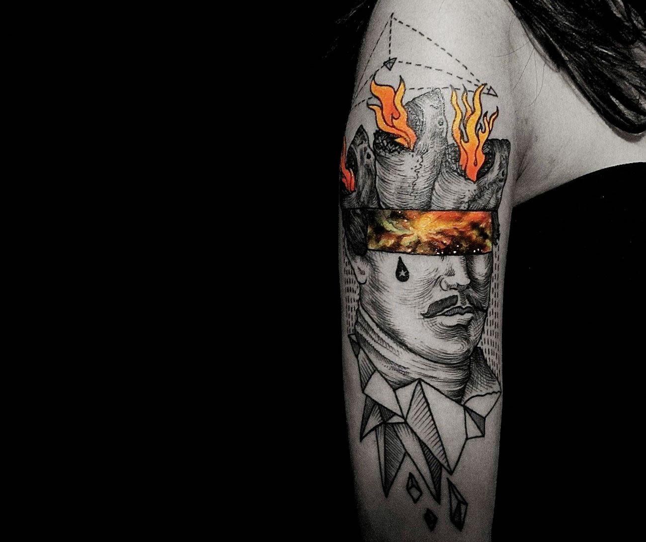 Etching Portrait with Cosmic Gaze tattoo by Nick Broslavskiy