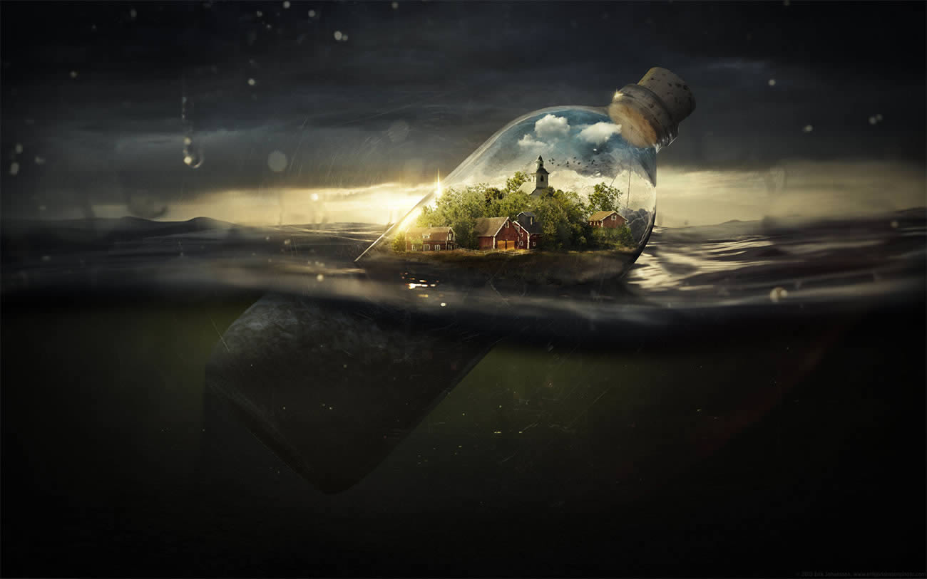city in a bottle, photomontage by erik johansson