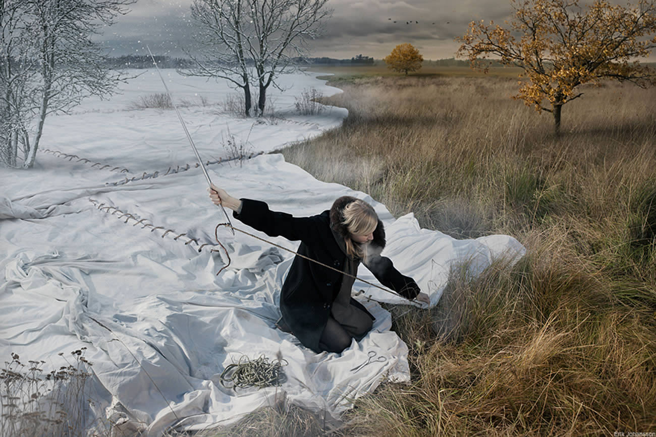 woman sewing a cloth sheet on green field, photomontage by erik johansson