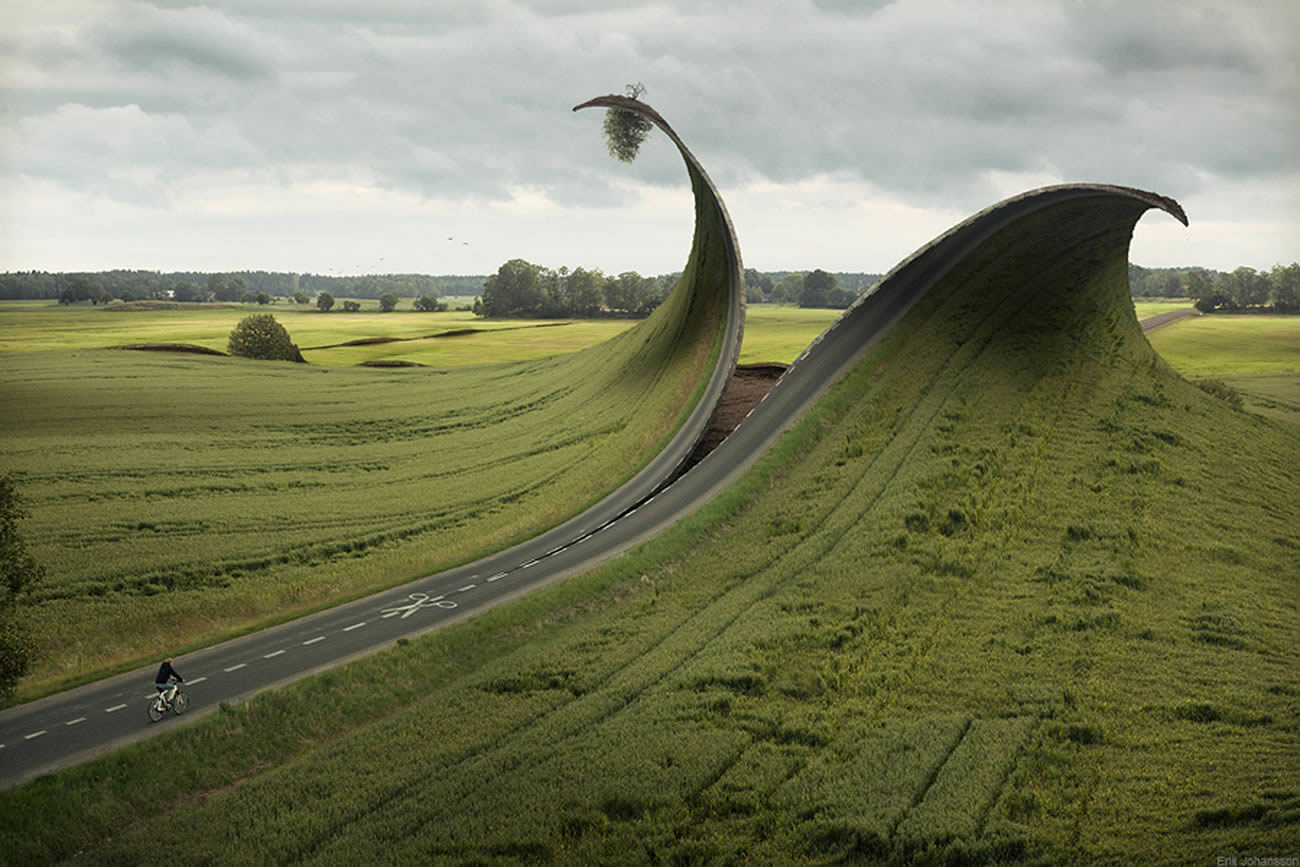 cutting the road in half, photomontage by erik johansson