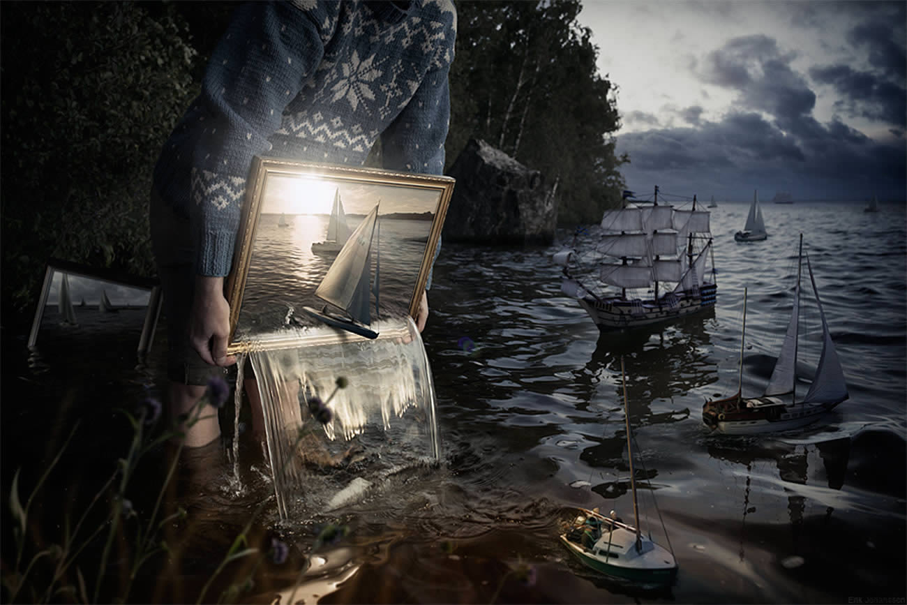frame sea and ship coming to life, photomontage by erik johansson