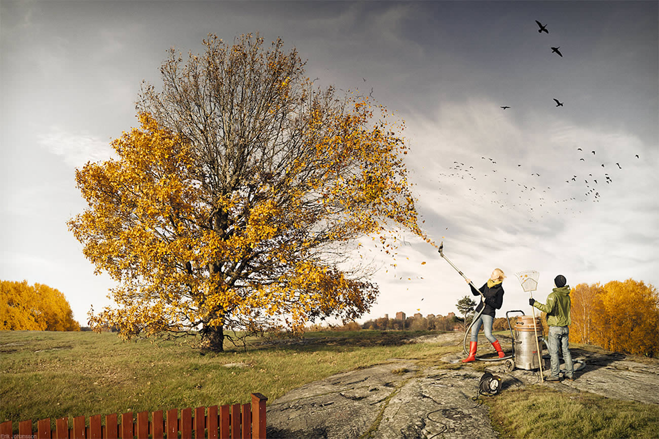 vacuuming tree leaves, photomontage by erik johansson