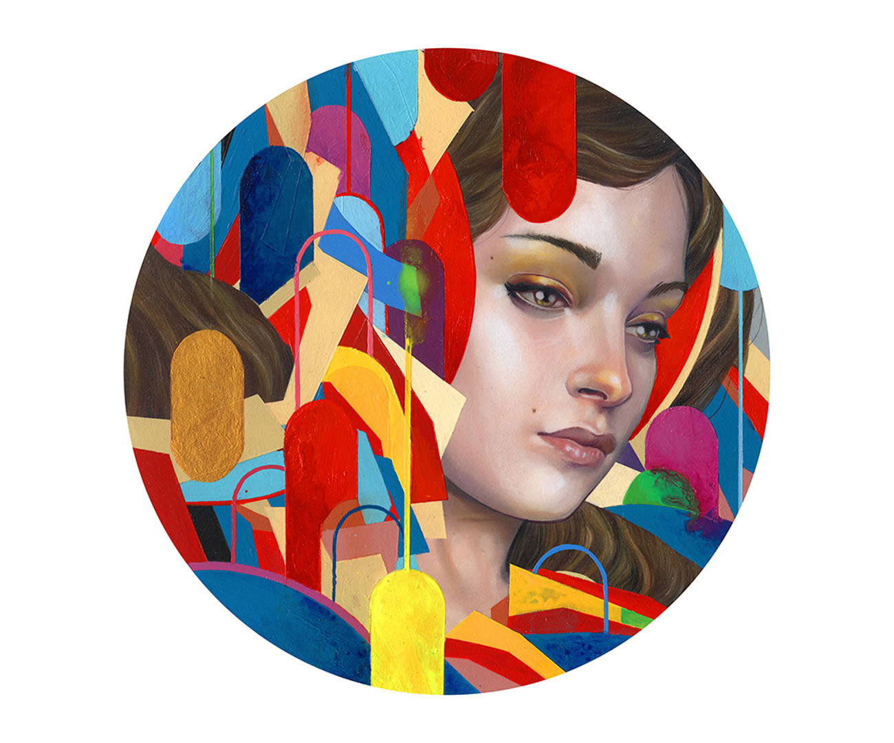 circle painting with girl face by erik jones