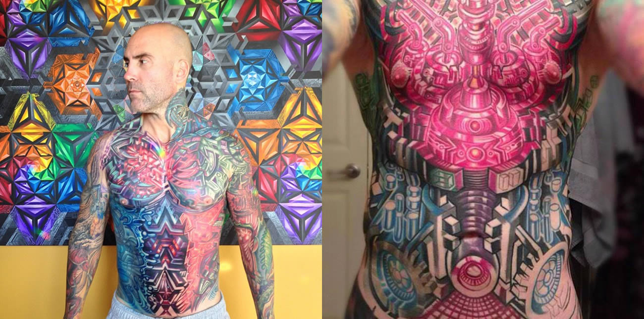crazy color chest pieces, tattoo by mike cole