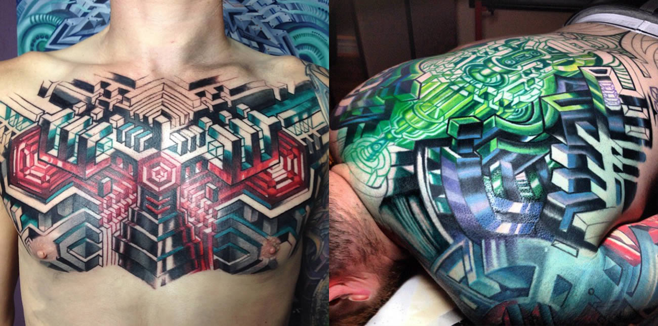 chest and back tattoos by mike cole