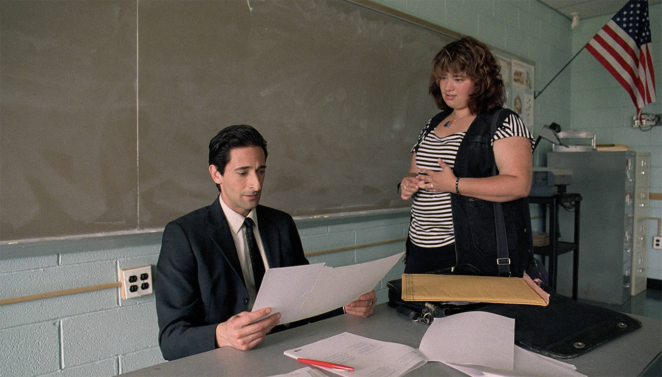 Detachment movie, adrian brody as a teacher talking to student in american classroom