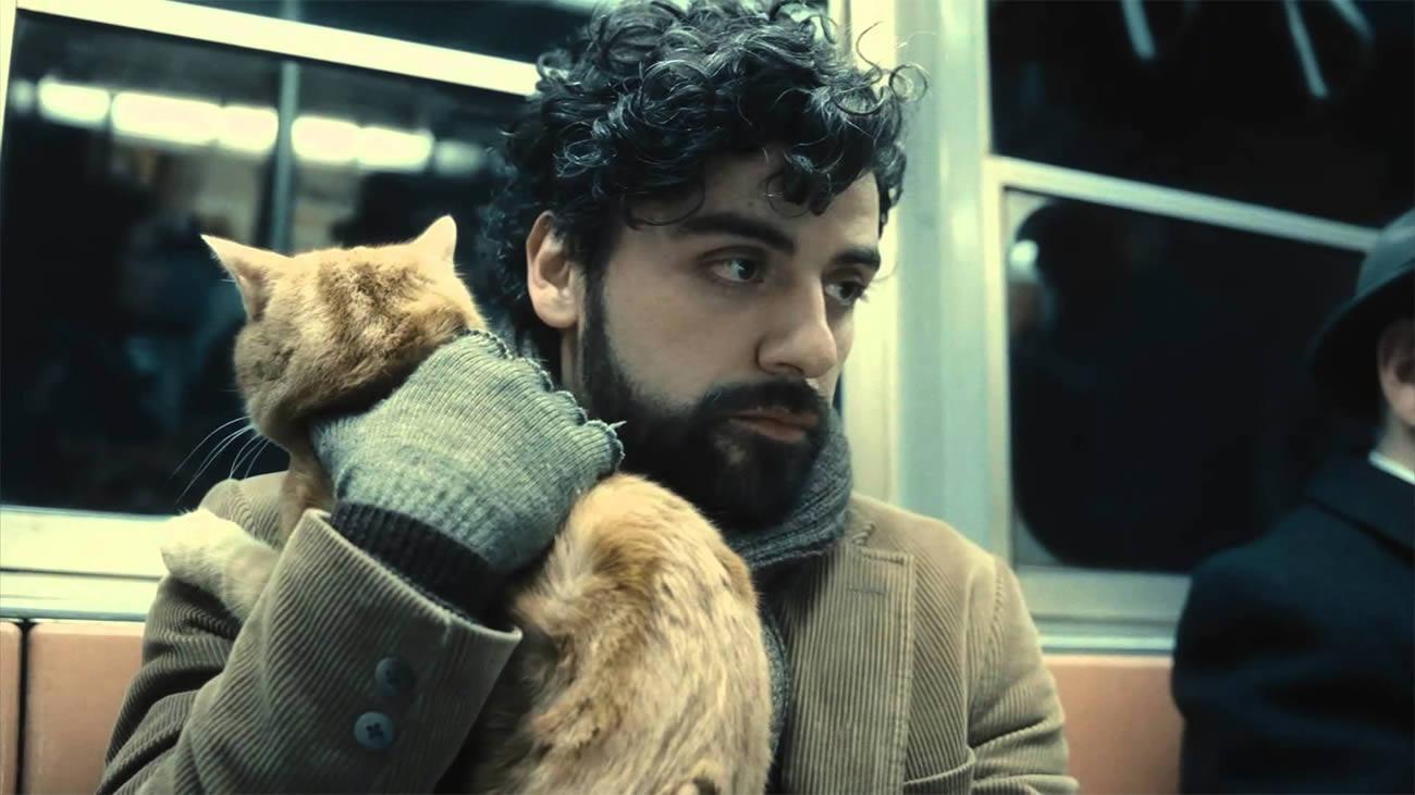 Inside Llewyn Davis, man with cat in subway