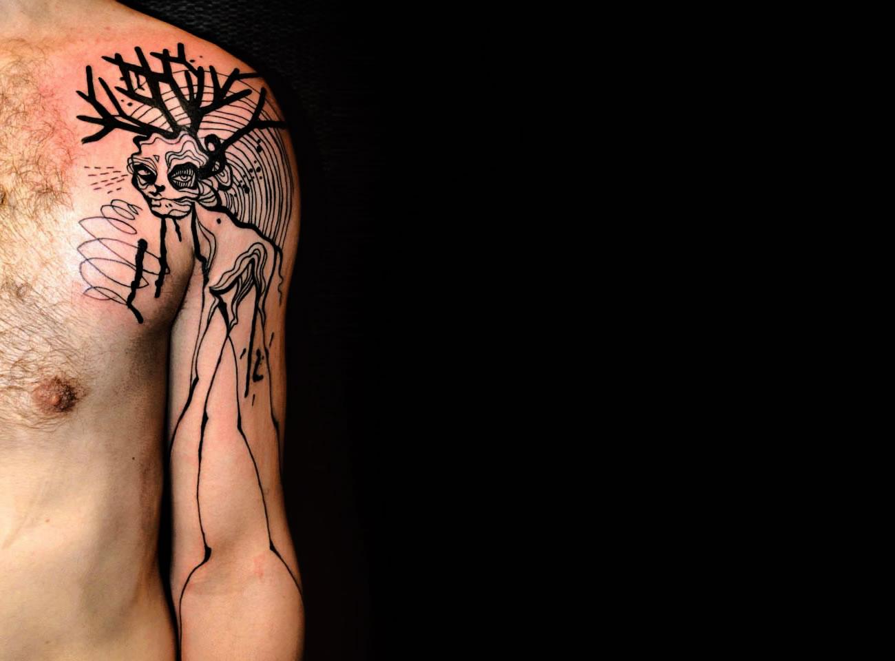 strange creature in ink, tattoo by Petra Hlaváčková