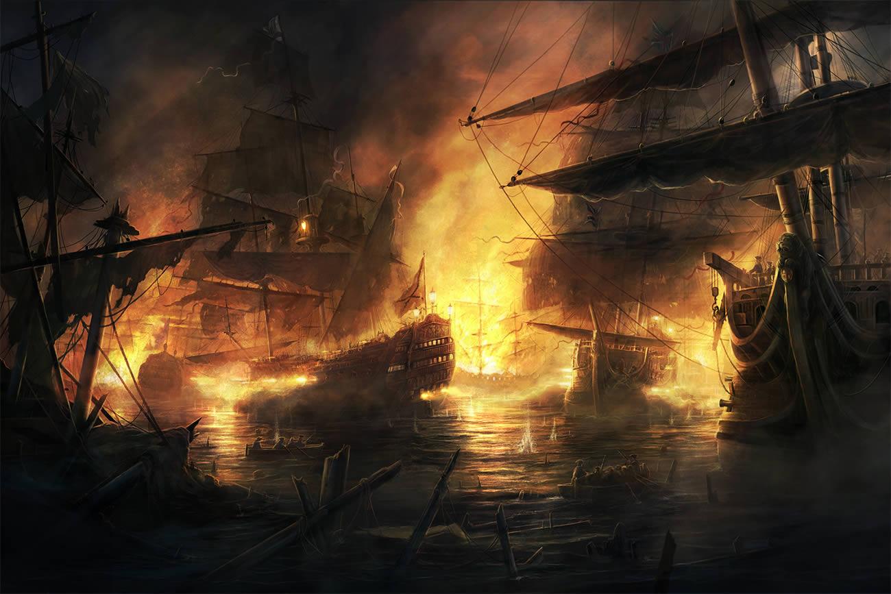 battle ships, digital art by rado javor 4