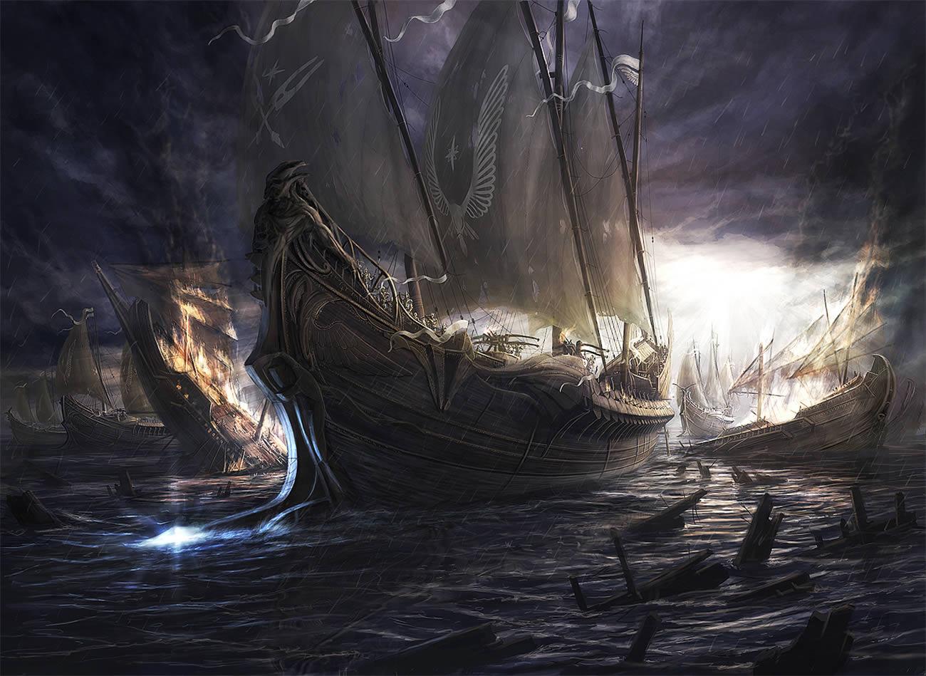 battle ships, digital art by rado javor 2