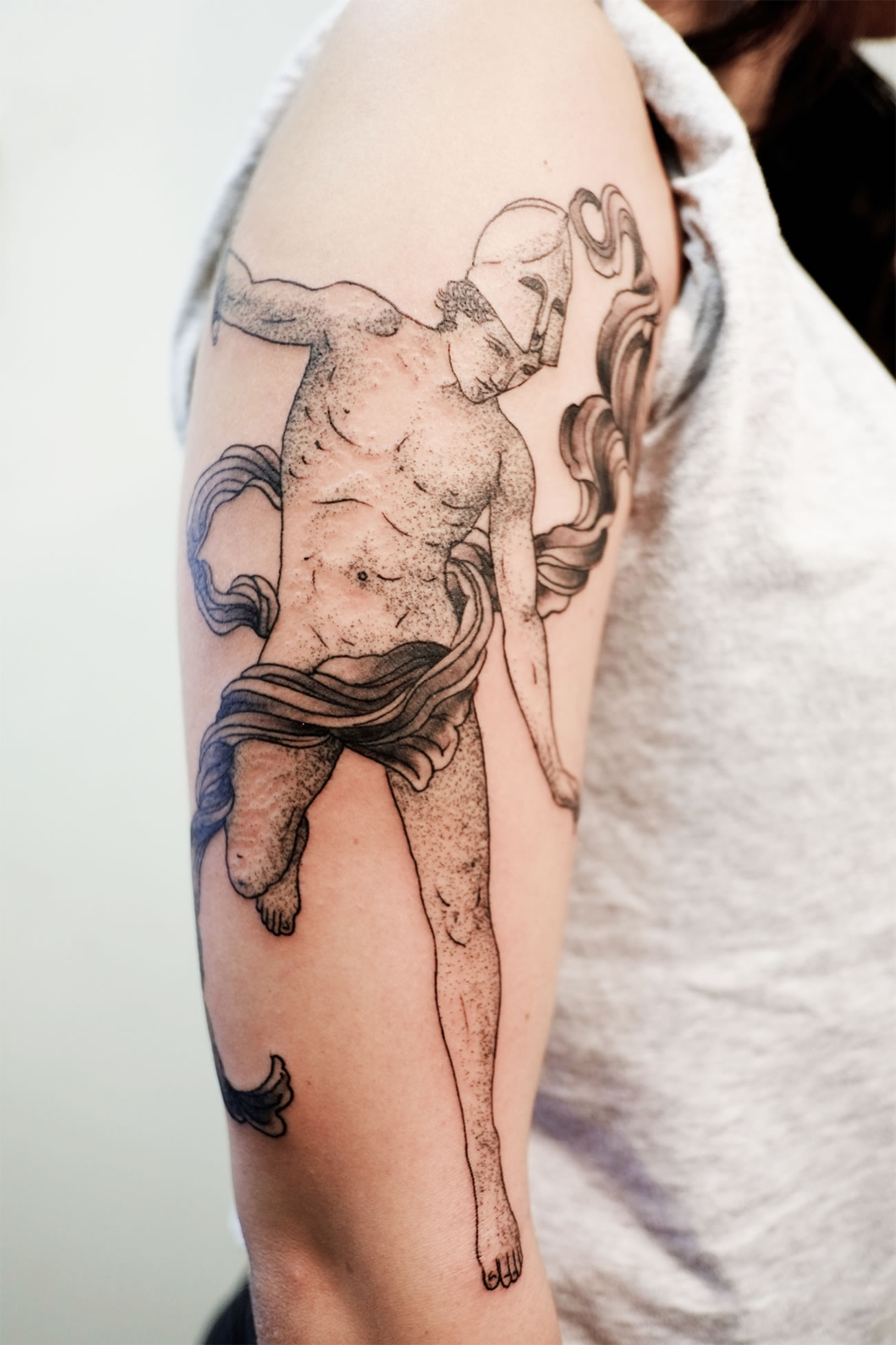 classical art greek man tattoo on arm by victor j webster