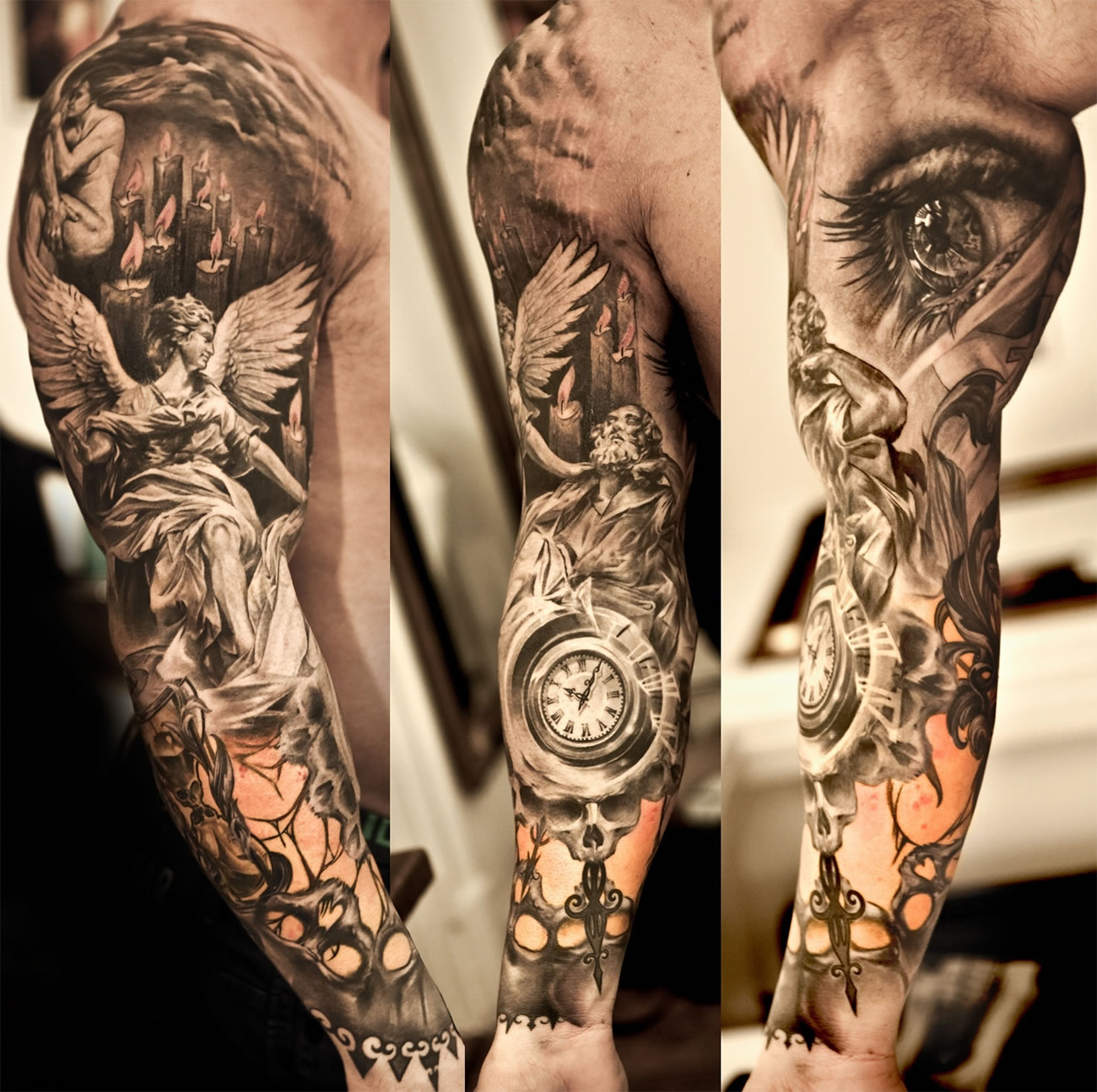 05977a6837abe Intricate 3D clock tattoo by Niki Norberg 3D angel sleeve with realistic  eye by Niki Norberg