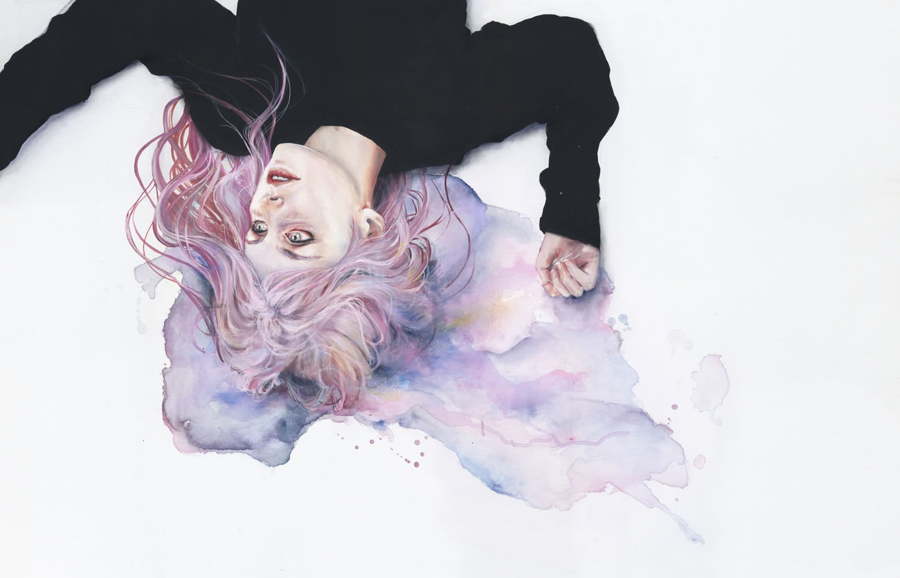 hair watercolor splash, by agnes cecile