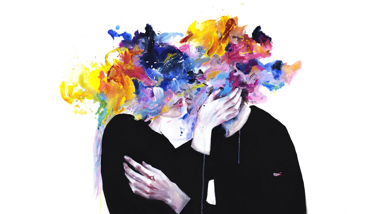 colored paint splatter, couple kissing, painting by agnes cecile