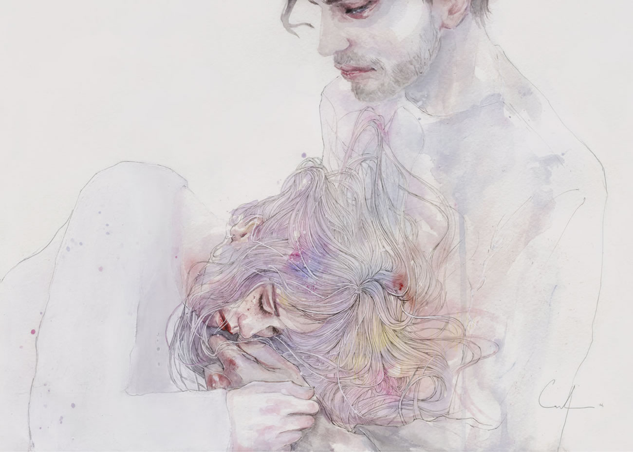 man holding woman's head, painting by agnes cecile