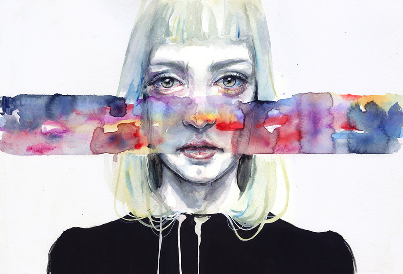rainbow color bar over girl's face, painting by Agnes Cecile