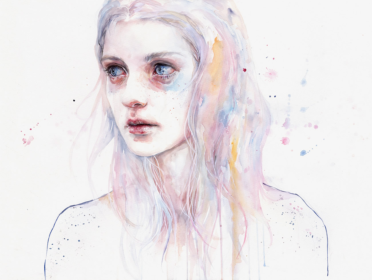 big eyed girl, painting by Agnes Cecile