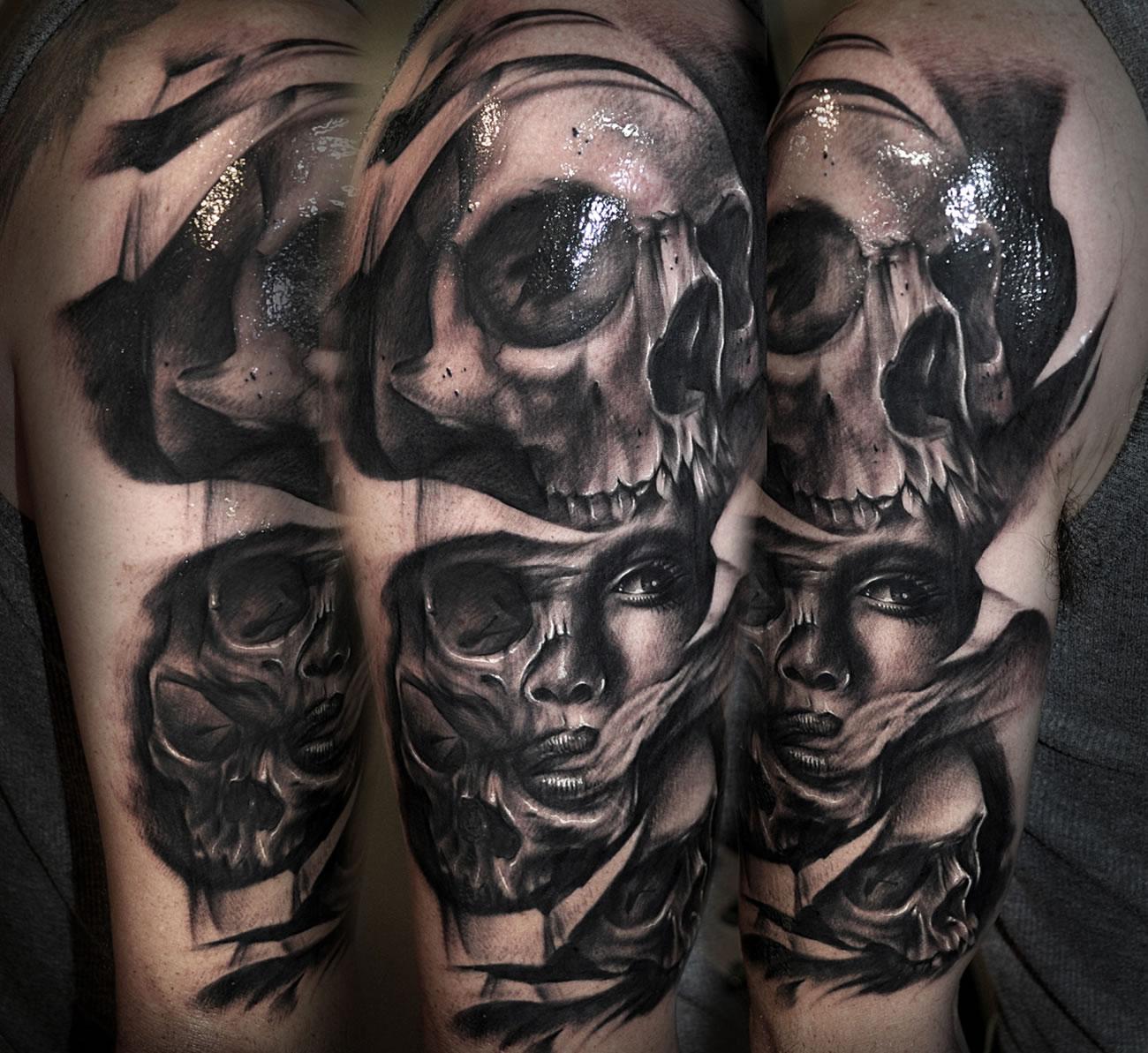 realistic skulls tattoo by Benjamin Laukis