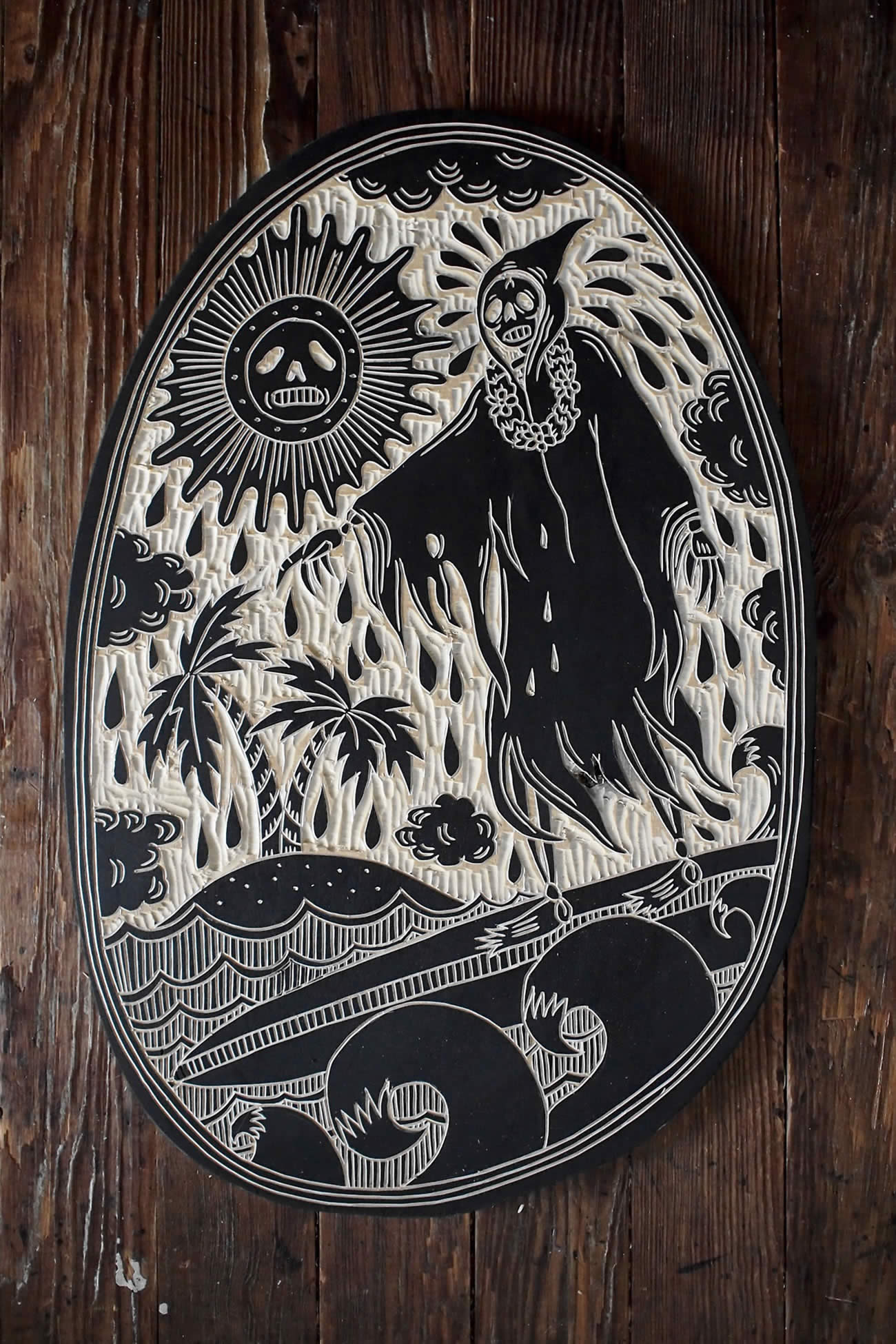 Tattoo inspired woodcuts by bryn perrott scene