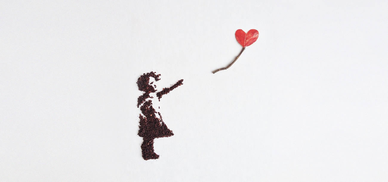 banksy girl with heart remake with coffee by Liv Buranday