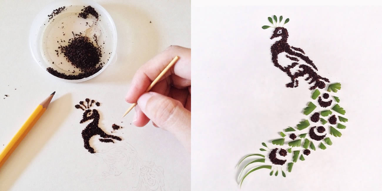 peacock coffee art by Liv Buranday