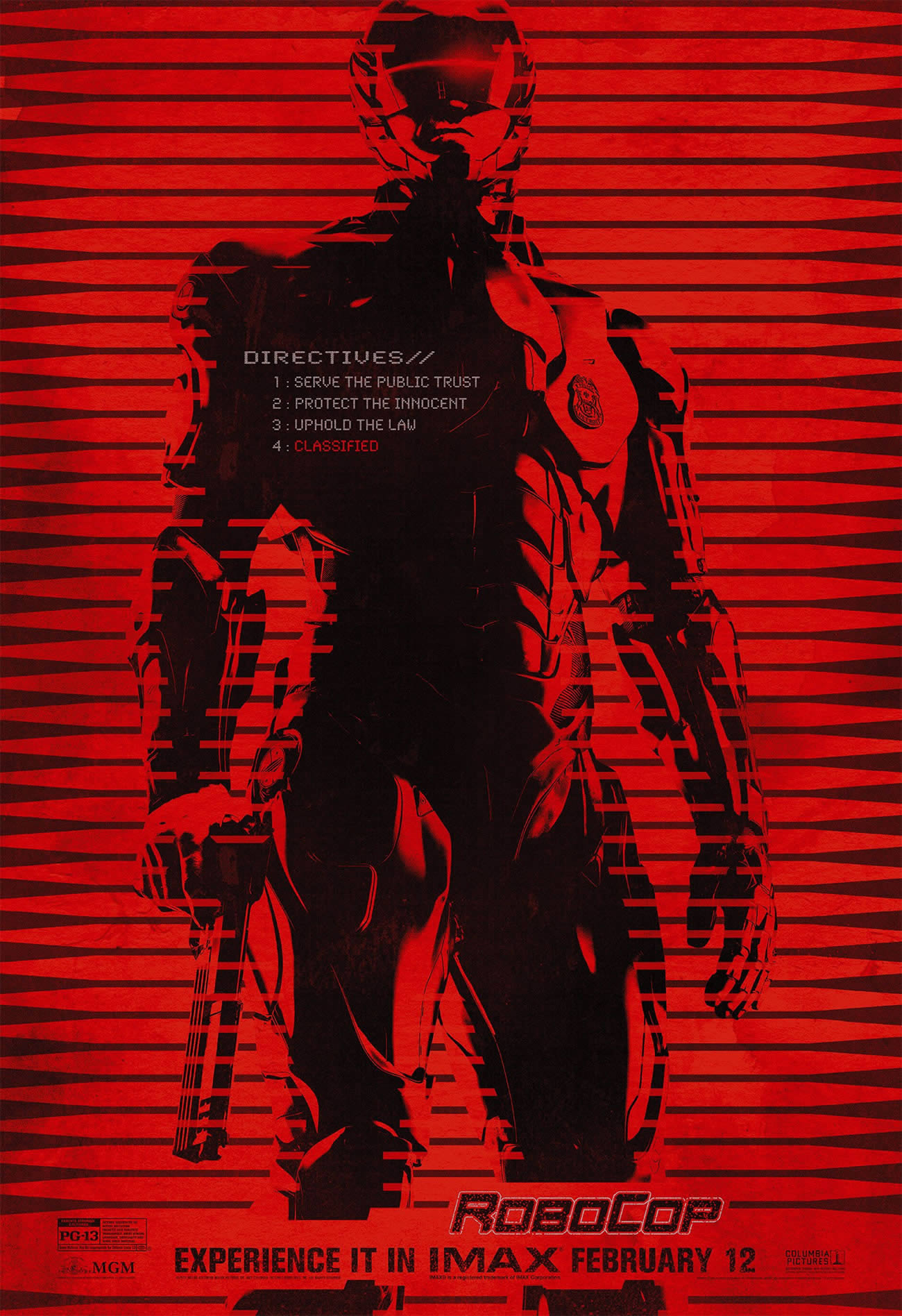 robocop, stencil style poster, imax, red