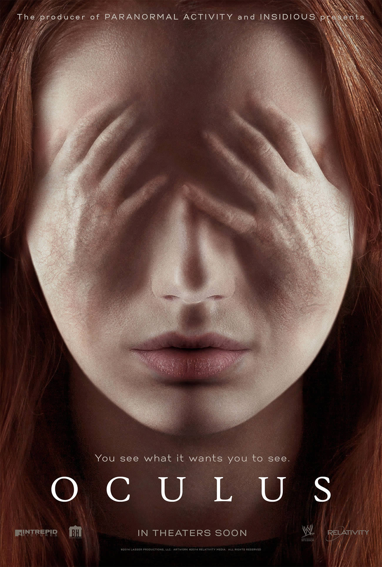 oculus movie poster, hands over eyes.