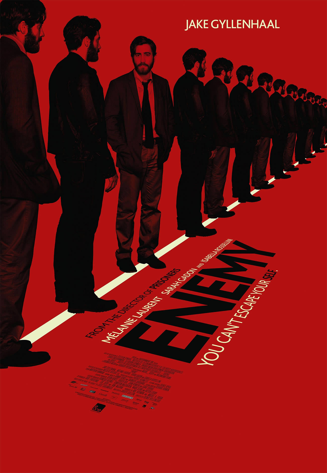 enemy movie poster, man repeated in black, red background
