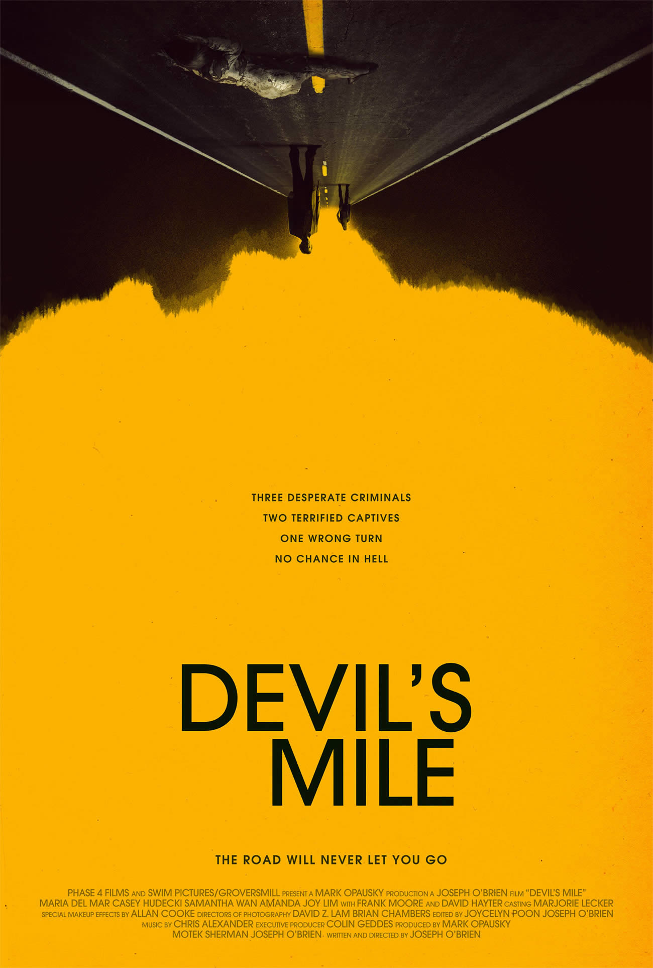 devil's mile poster, upside down, yellow backgroung