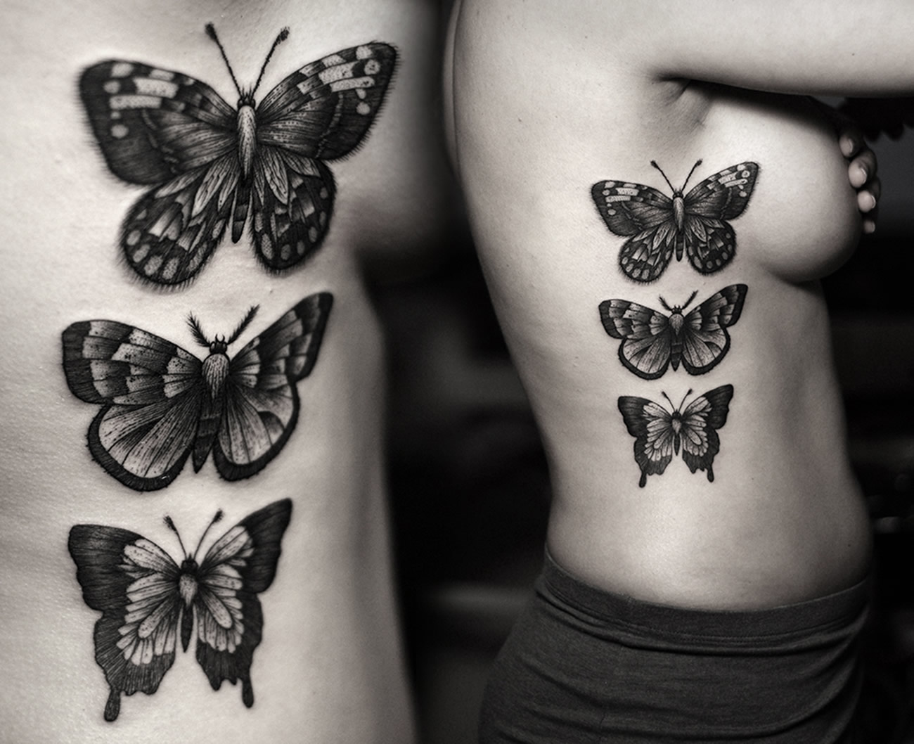 butterfly in vertical alignment, tattoo by Kamil Czapiga